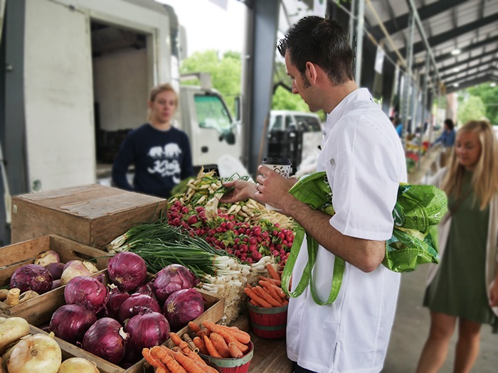 Chef Michael picking out the perfect produce!